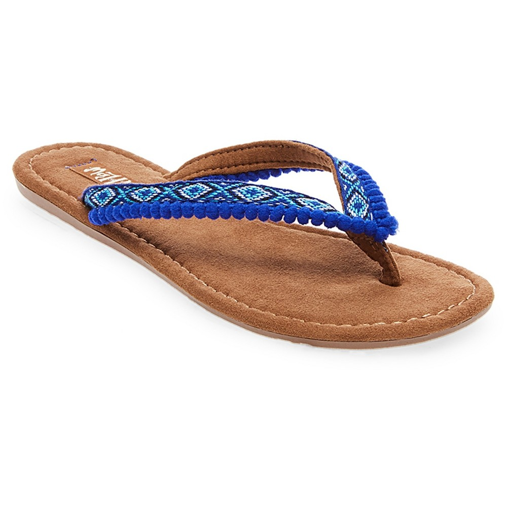 Womens Mad Love Alice Pom Pom Strap Detail Thong Sandals - Navy (Blue) 10