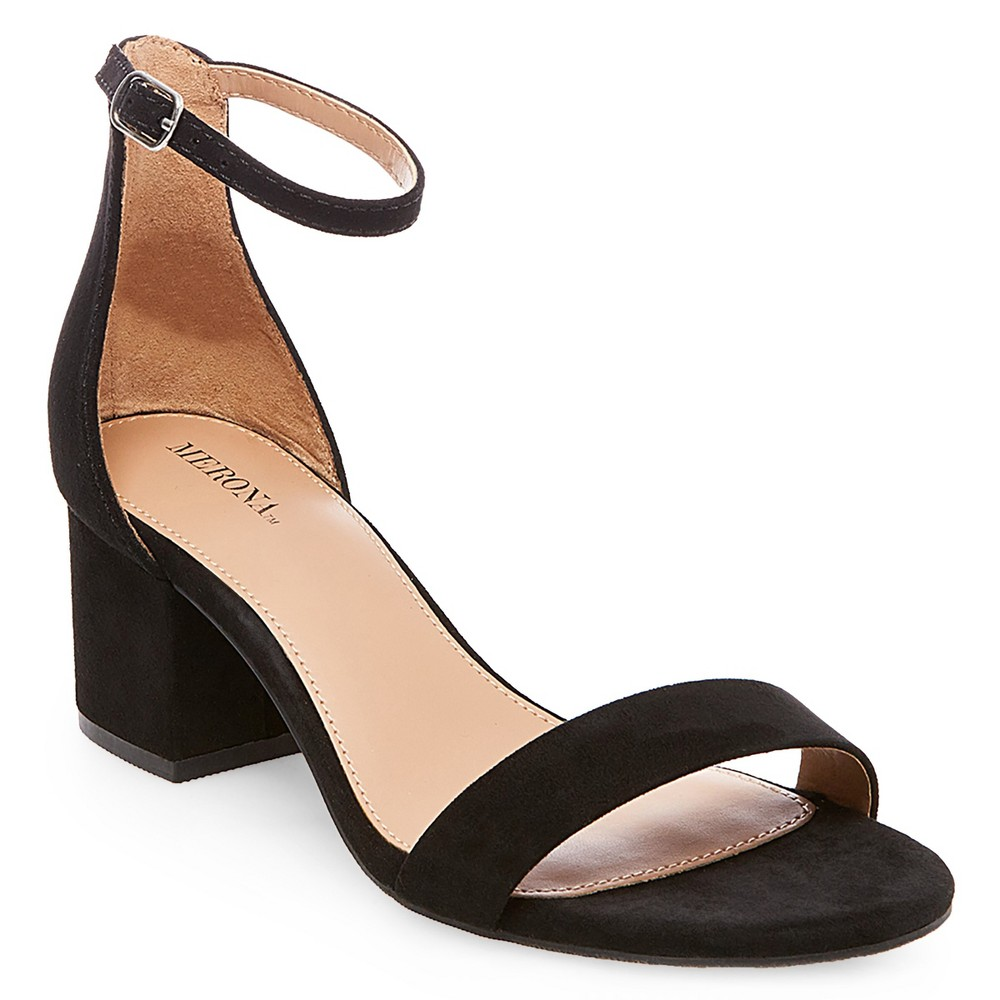 Womens Marcella Low Block Heel Pumps with Ankle Straps - Merona Black 9.5