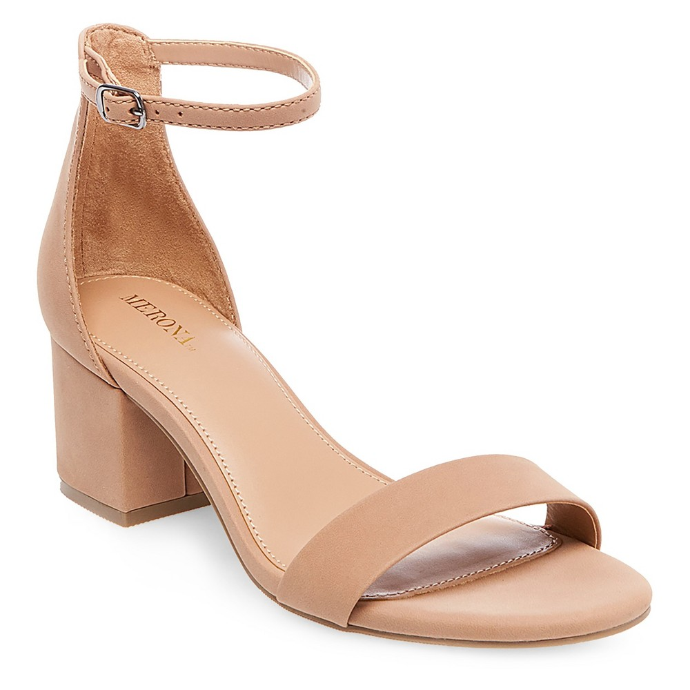 Womens Marcella Low Block Heel Pumps with Ankle Straps - Merona Tan 7.5