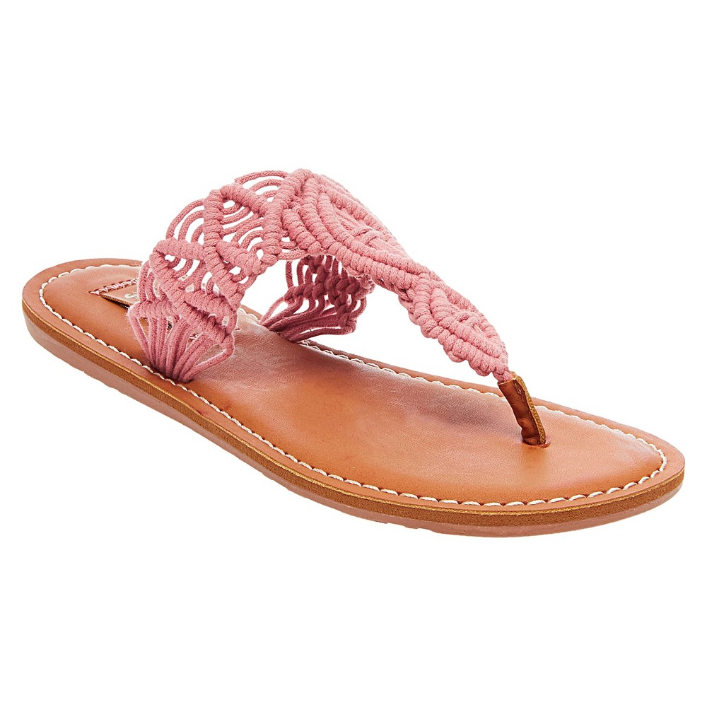 Womens Mad Love Lee Thong Sandals - Washed Red 7