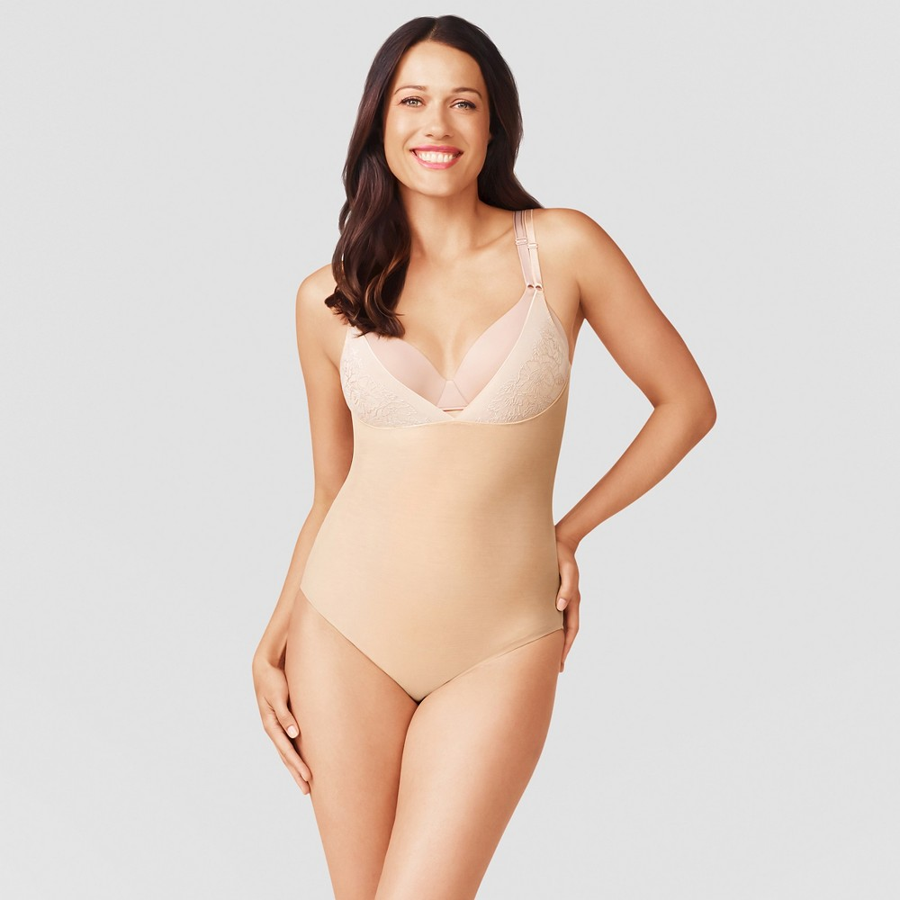 Simply Perfect by Warners Womens Mesh Bodysuit with Floral Trim - Beige Nude L