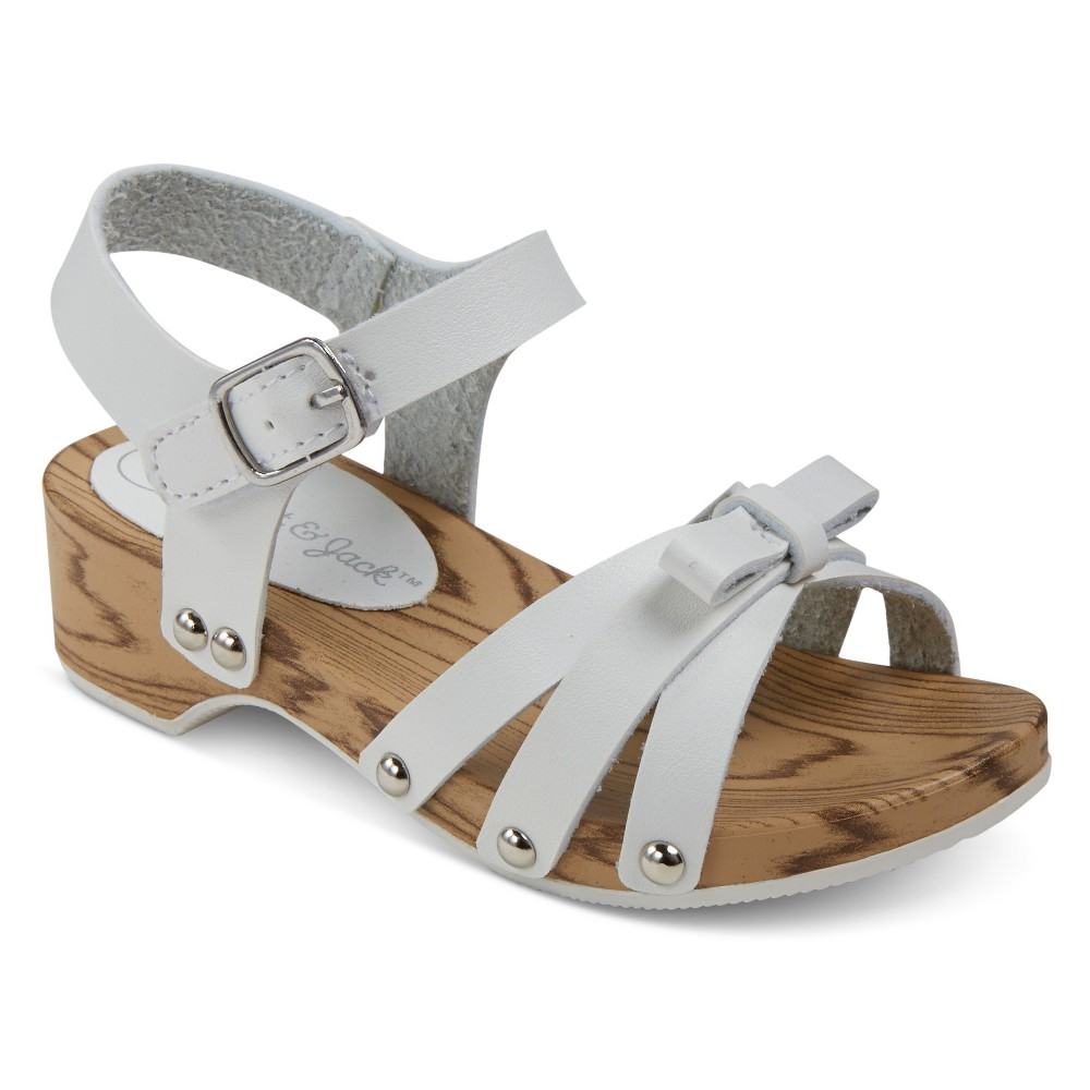 Toddler Girls Wooden Wedge With Small Bow Slide Sandals Cat & Jack - White 6