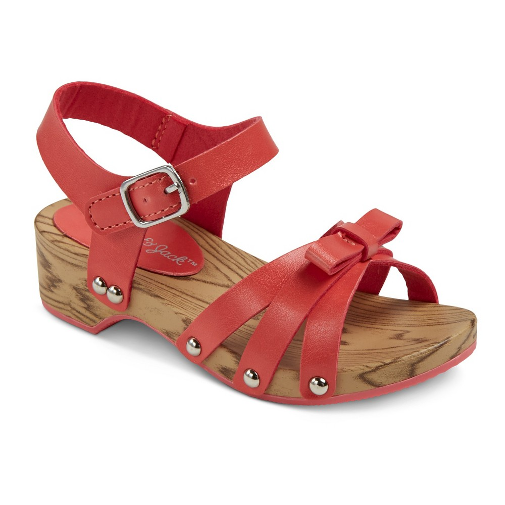 Toddler Girls Wooden Wedge With Small Bow Slide Sandals Cat & Jack - Coral (Pink) 6