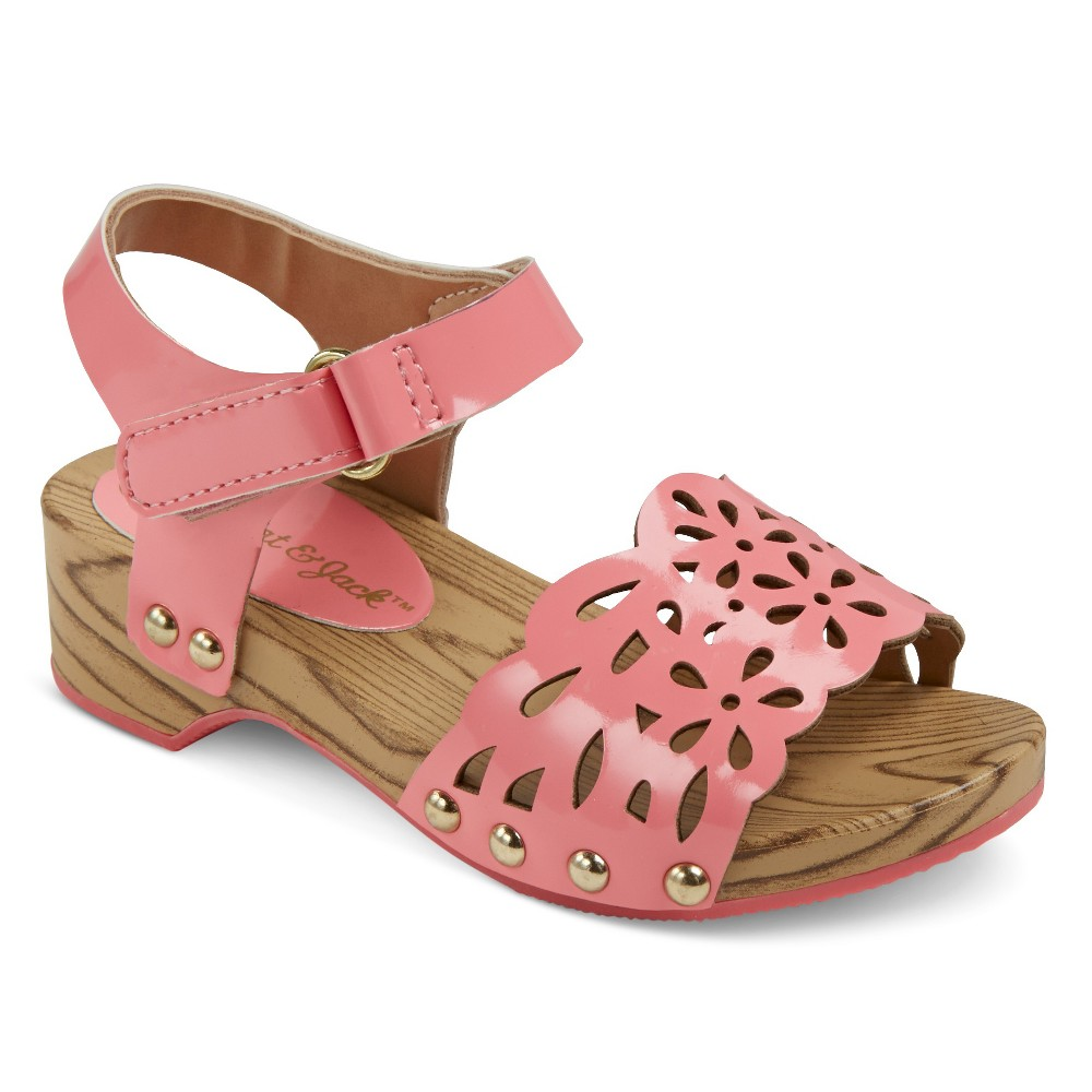 Toddler Girls Vanna Two Piece Wood Wedge Slide Sandals With Chop Outs Cat & Jack - Coral 7, Pink