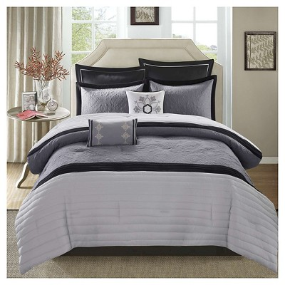 Kingston Matelasse Comforter Set (Queen)Black&Gray - 8 Piece