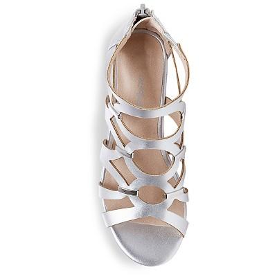 Girls' Nicolina Wedge Gladiator Sandals Cat & Jack - Silver 13, Girl's