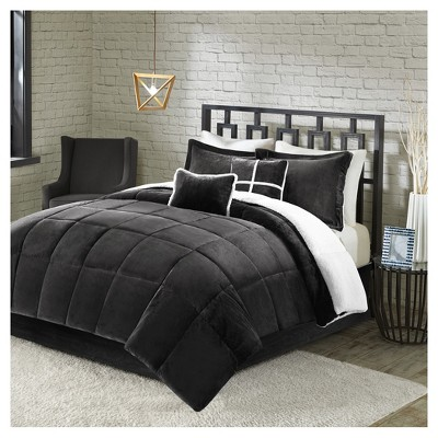 Black Solid Velvet with Sherpa Reversible Comforter Set (Queen)5pc