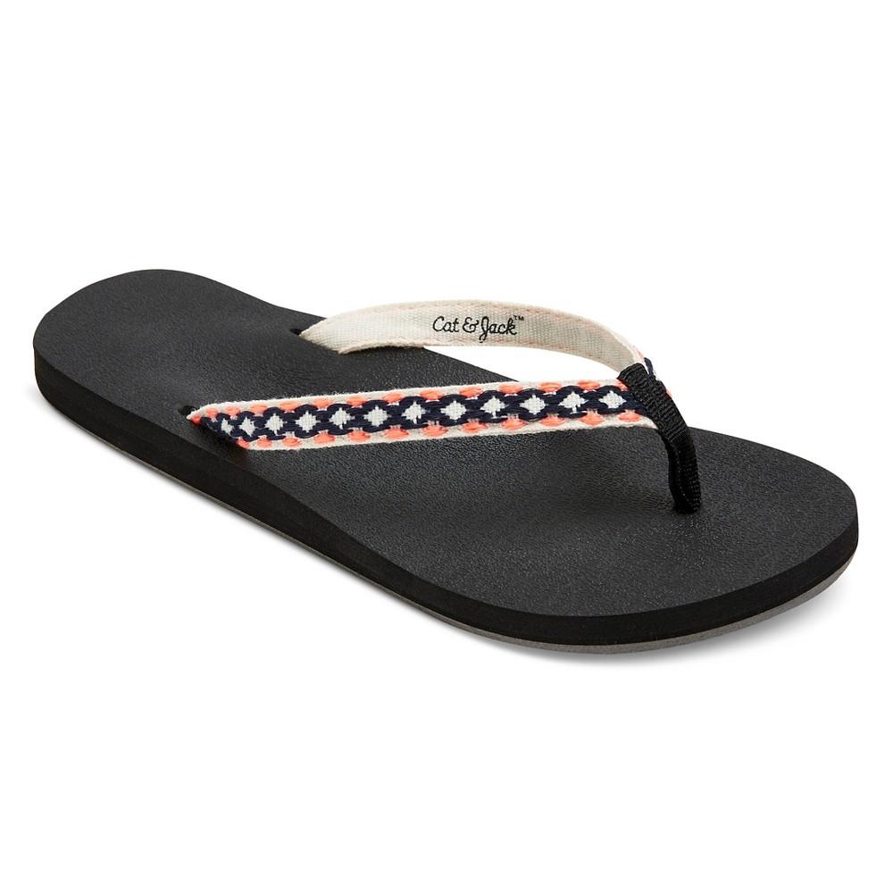 Girls Bella Flip Flop Sandals Cat & Jack - Black XL