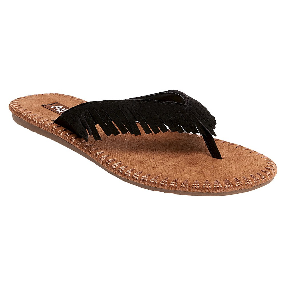 Womens Mad Love Morgan Fringe Thong Sandals - Black 7