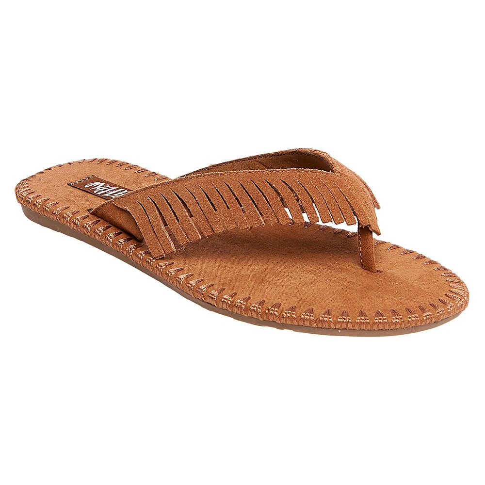 Womens Mad Love Morgan Fringe Thong Sandals - Brown 10