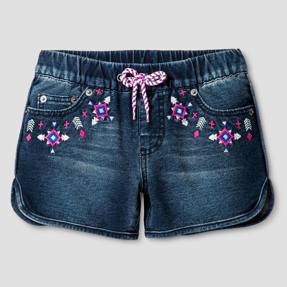 Girls Fashion Shorts - Cat & Jack Dark Denim Wash L, Blue