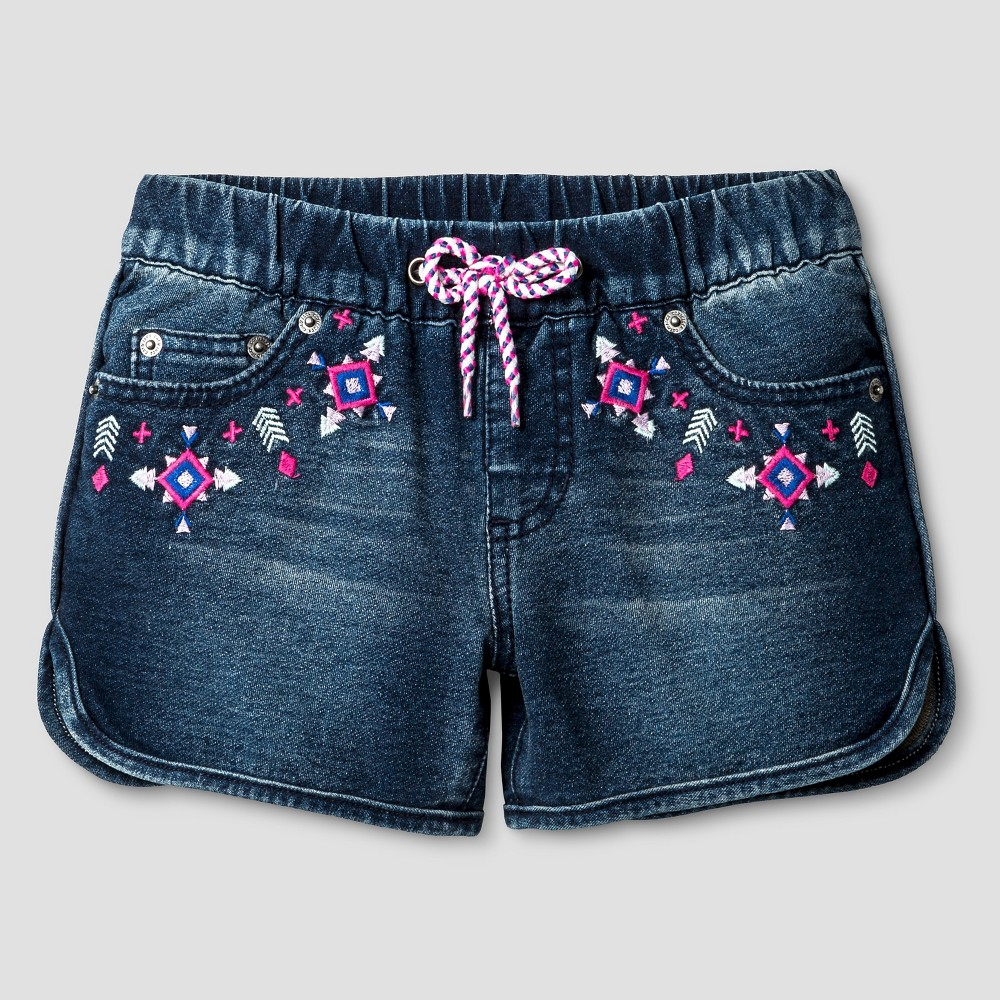 Girls Fashion Shorts - Cat & Jack Dark Denim Wash XL, Blue