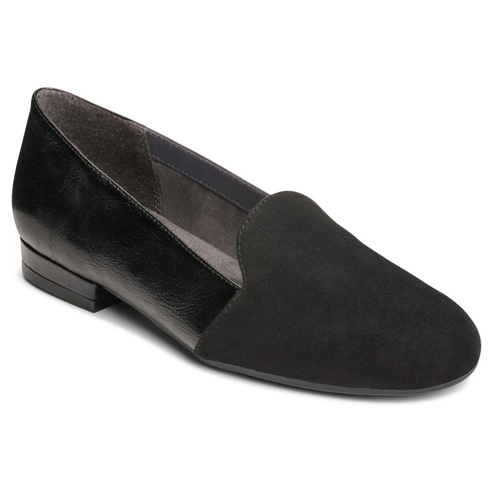 Retro Vintage Flats and Low Heel Shoes Womens A2 by Aerosoles Good Call Loafers - Black 5.5 $49.99 AT vintagedancer.com