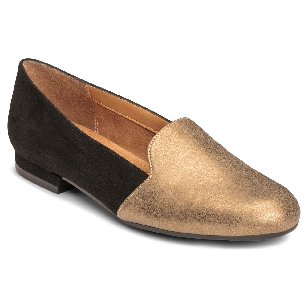 Retro Vintage Flats and Low Heel Shoes Womens A2 by Aerosoles Good Call Loafers - BlackGold 6 $49.99 AT vintagedancer.com