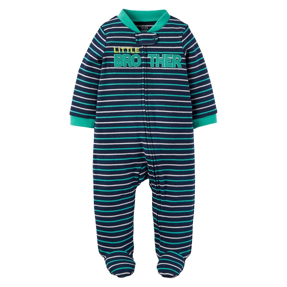 Baby Boys Cotton Little Brother Sleep N Play - Just One You Made by Carters Blue Stripe 3M, Size: 3 M