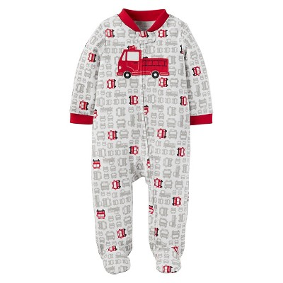 Baby Boys' Firetruck Cotton Sleep N' Play - Just One You™ Made by Carter's® Gray/Red 9M