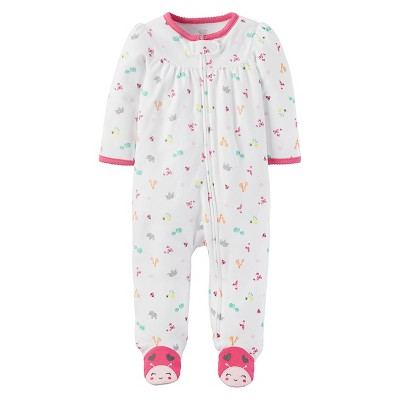 Baby Girls' Cotton Animals Sleep N' Play - Just One You™ Made by Carter's® White/Pink 3M