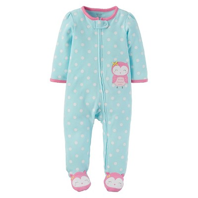 Baby Girls' Cotton Owl Sleep N' Play - Just One You™ Made by Carter's® Turquoise Dot 3M