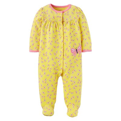 Baby Girls' Cotton Butterfly Sleep N' Play - Just One You™ Made by Carter's® Yellow NB