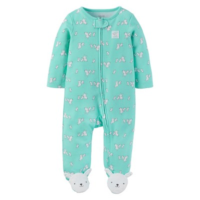 Baby Girls' Cotton Bunnies Sleep N' Play - Just One You™ Made by Carter's® Teal NB