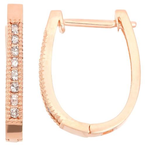 '1/4 Tdw 10k Rose Gold ''u'' Shaped Diamond Hoop Earrings, Women's, Pink'