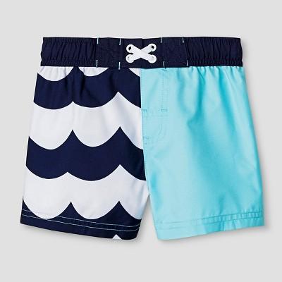 Baby Boys' Wave Print Swim Trunk Cat & Jack™ - Aqua/Navy 9M