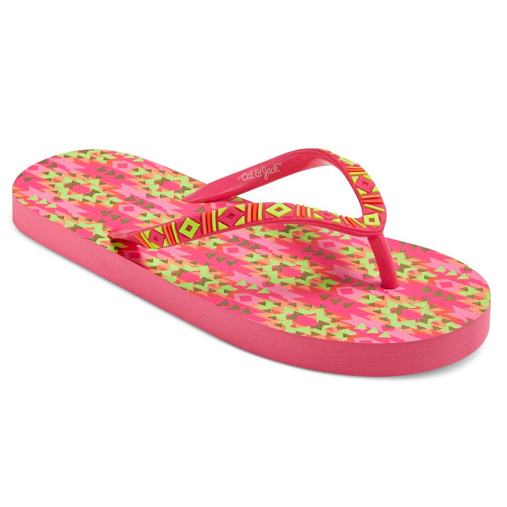 Girls Lyala Printed Flip Flop Sandals Cat & Jack - Pink S