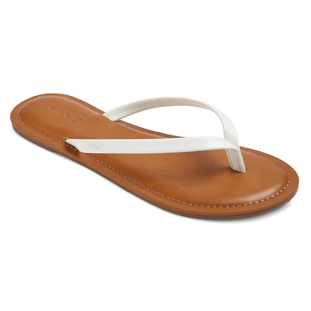 Girls Nava Flip Flop Sandals Cat & Jack - White XL