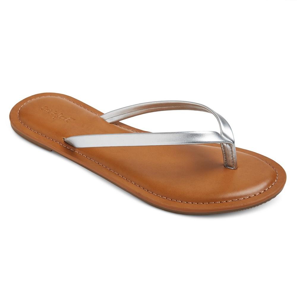 Girls Nava Flip Flop Sandals Cat & Jack - Silver M