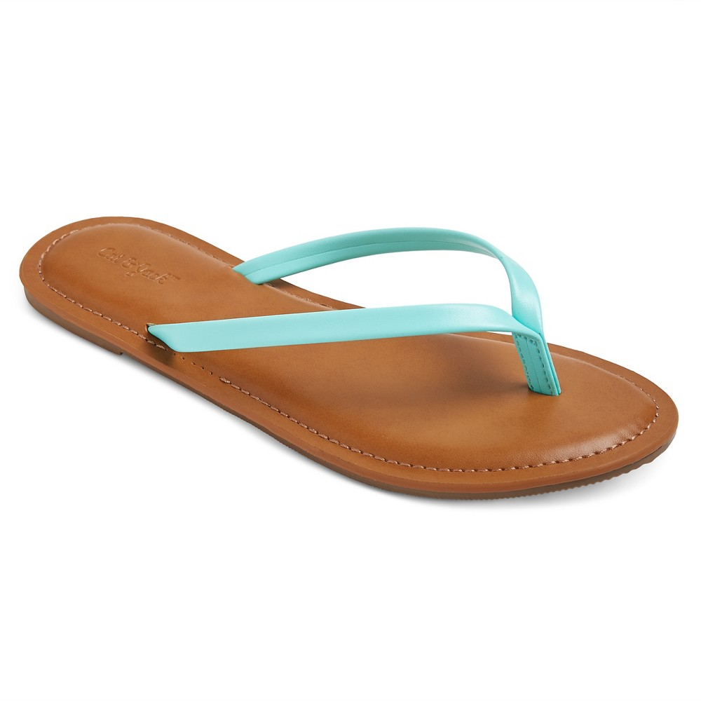 Girls Nava Flip Flop Sandals Cat & Jack - Mint Green XL