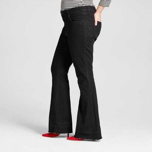 Women's Plus Size Flare Jeans Black Wash - Ava & Viv™ : Target