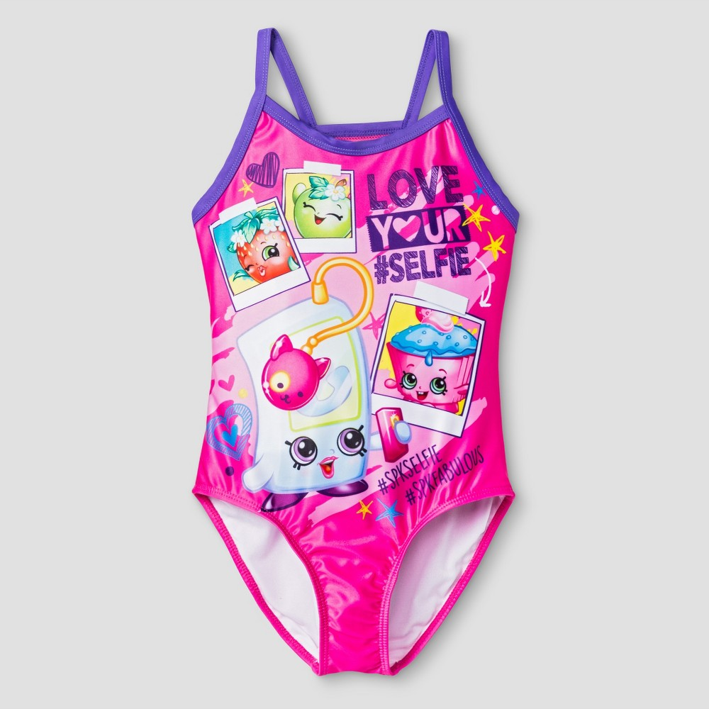 Girls Shopkins One Piece Swimsuit XS - Diva Pink