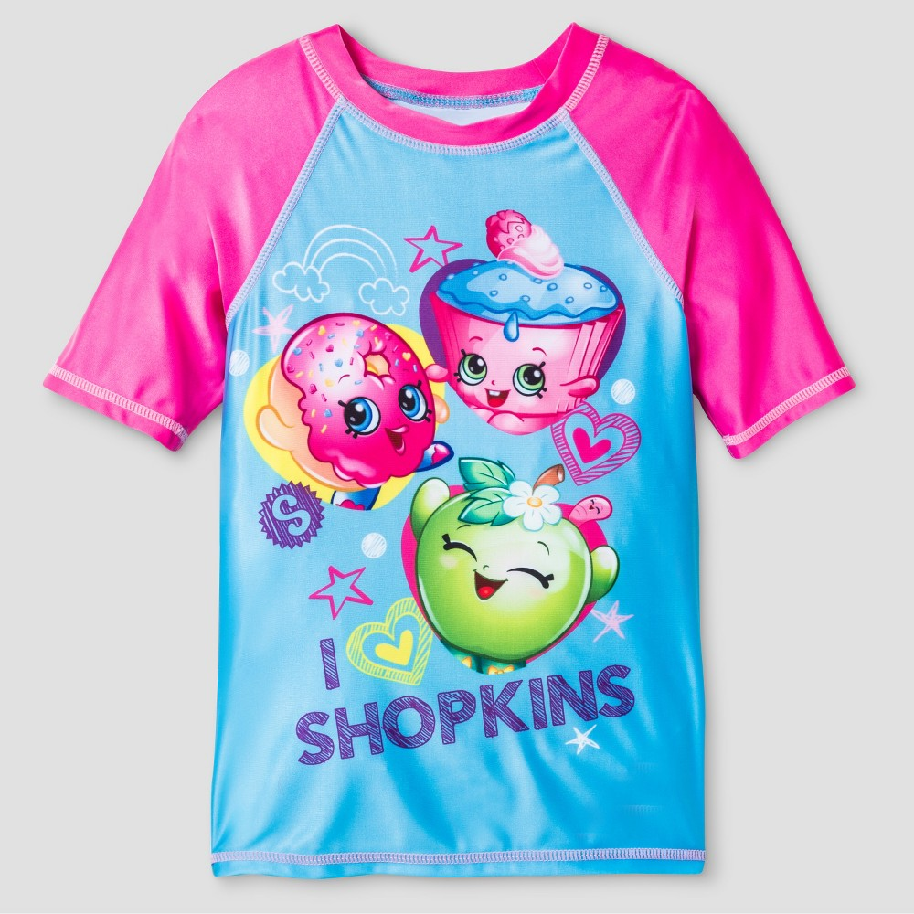 Girls Shopkins Rash Guard S - Blue