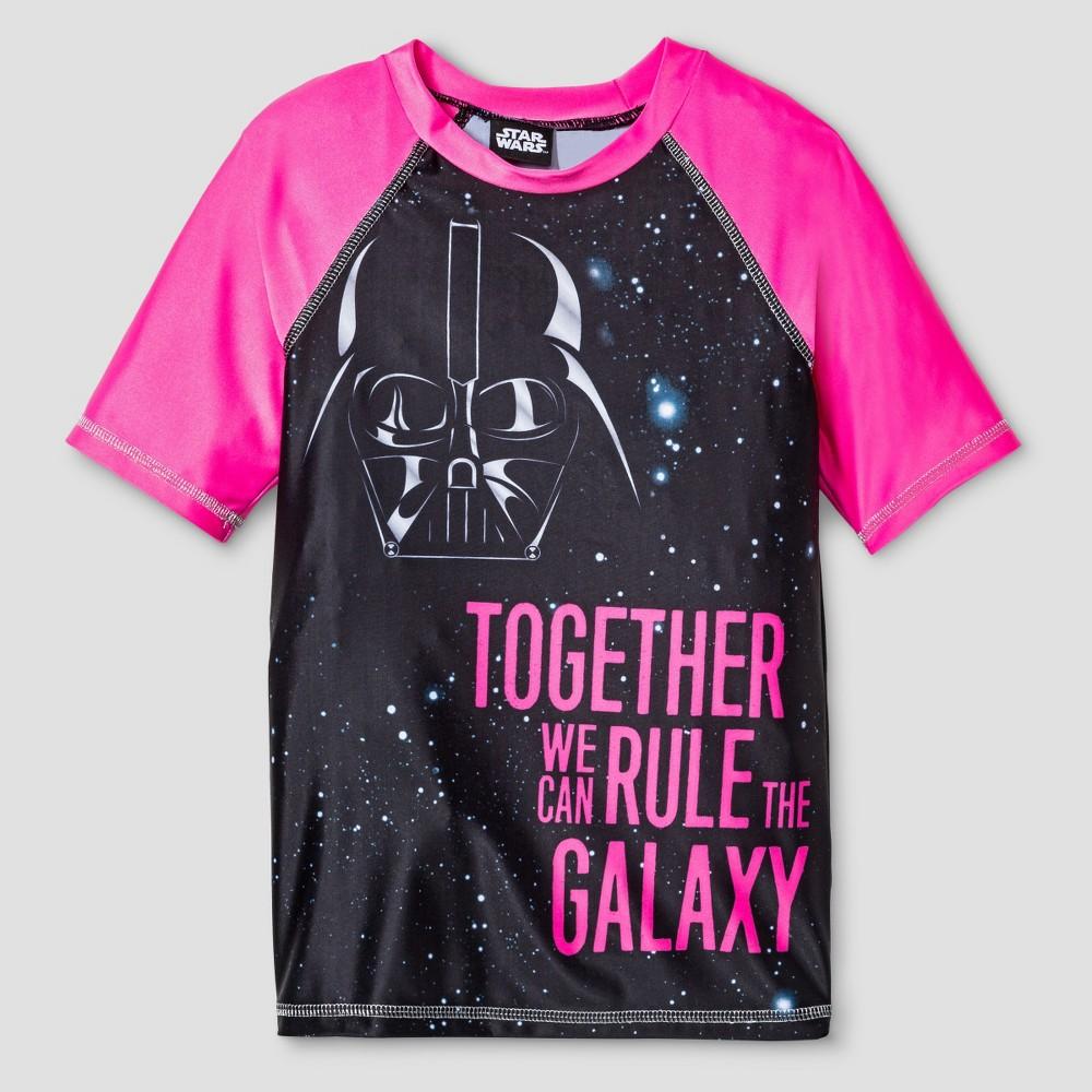 Star Wars Girls Darth Vader Rash Guard M - Black