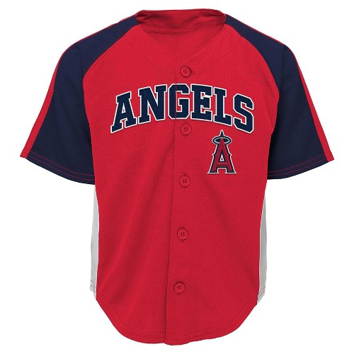 Los Angeles Angels of Anaheim Toddler Boys' Button Down Team Jersey - Team Color 2T, Toddler Boy's
