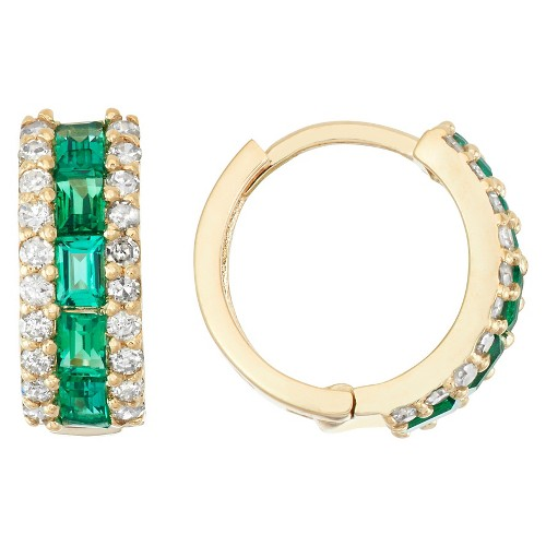 1/2 Tdw Emerald and Diamond Hoop Earrings in 10K Yellow Gold, Women's