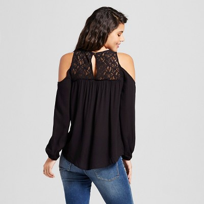 Women's Day Shine Cold Shoulder Top Black Xxl - Xhilaration (Juniors')