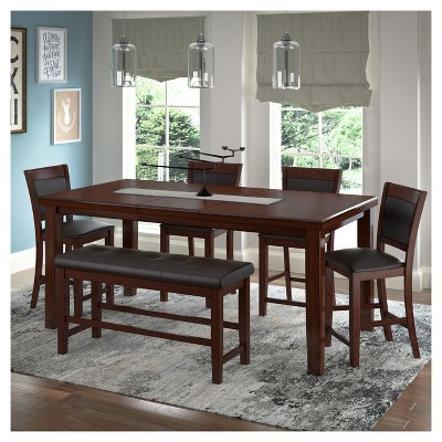 6 Piece Counter Height Extendable Dining Set   Warm Brown   CorLiving