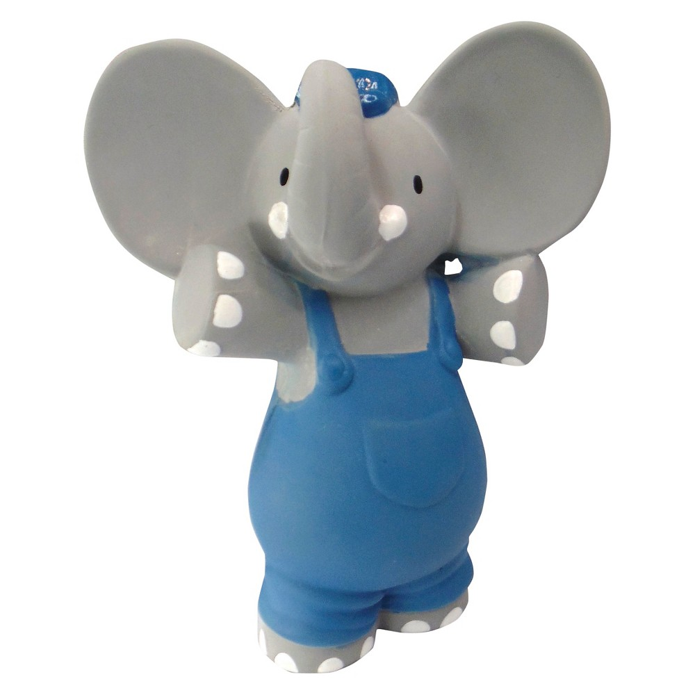 Meiya & Alvin the Elephant Rubber Squeaker Toy in window box - Gray