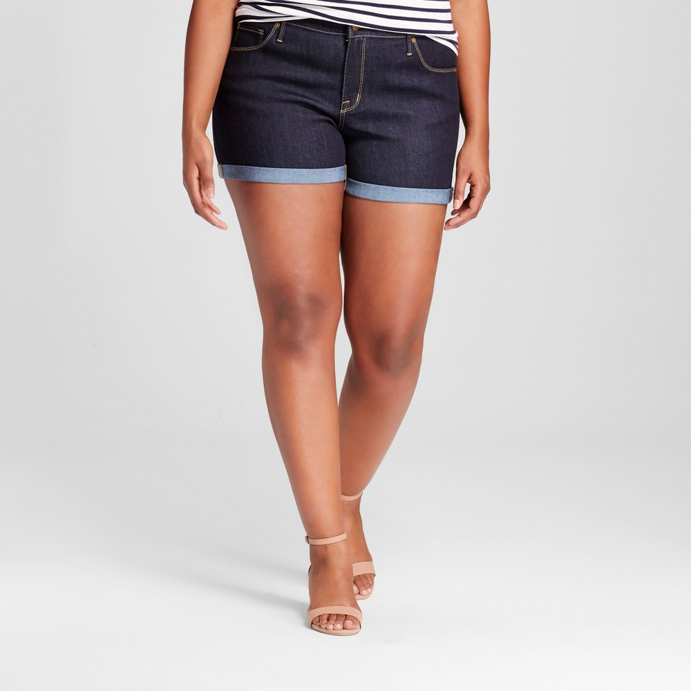 Womens Plus Size Denim Midi Shorts - Ava & Viv Dark Denim Wash 14W, Blue