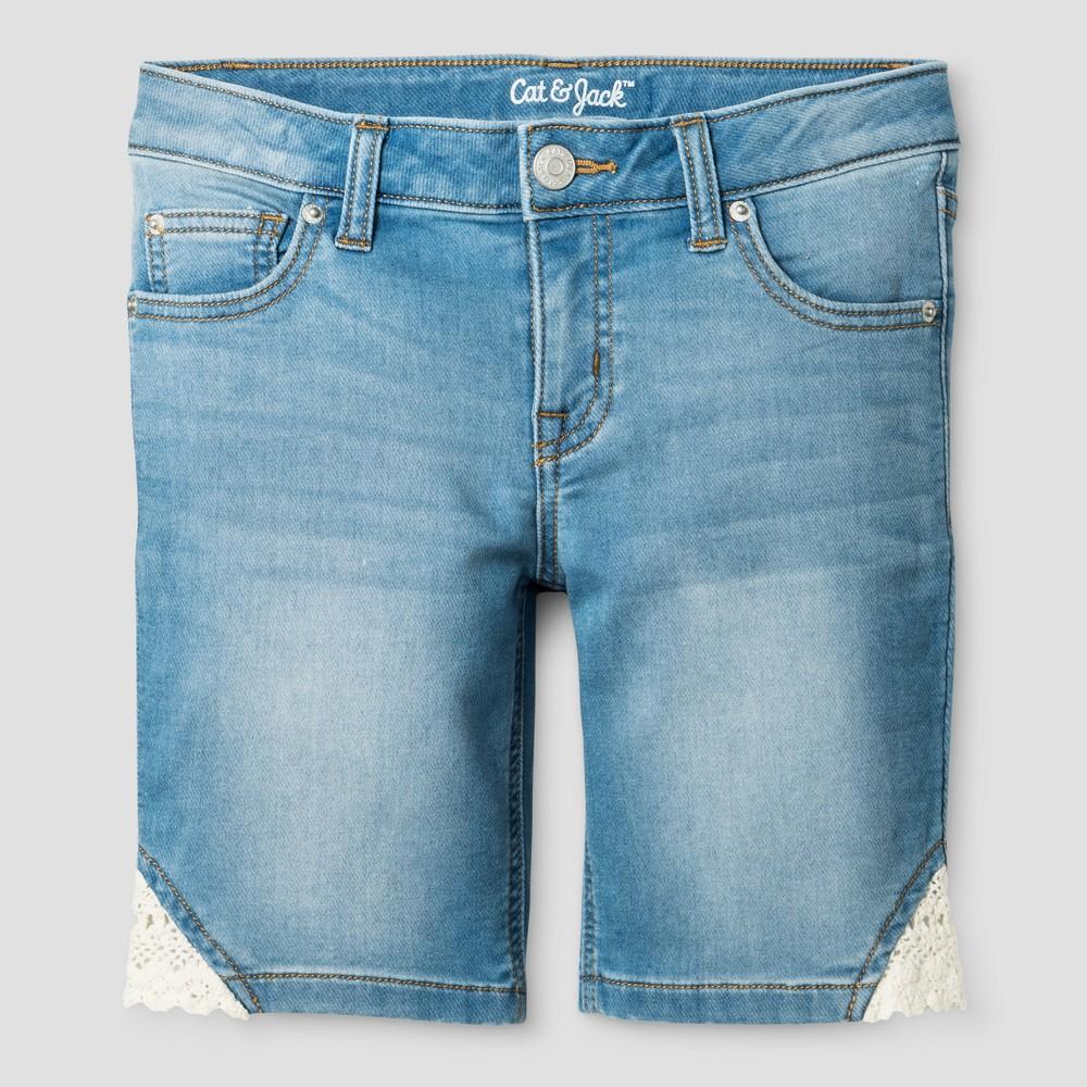 Girls Jean Shorts - Cat & Jack Light Denim L, Blue