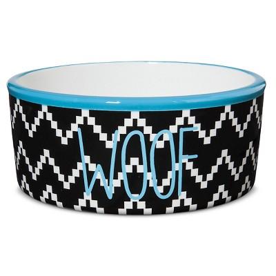 Territory Modern Woof Printed Ceramic Dog Bowl - Black Print - 3 Cup