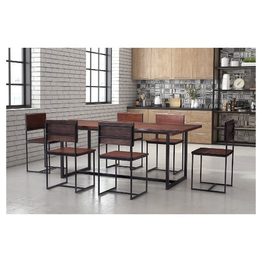 Rustic Oak Wood And Metal Rectangular 78 Dining Table