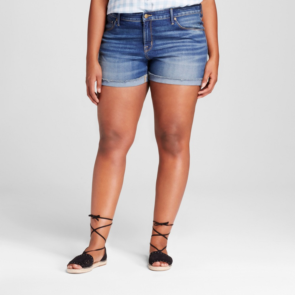 Womens Plus Size Denim Midi Short - Ava & Viv Medium Denim Wash 24W, Blue
