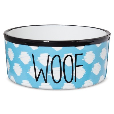 Territory Modern Woof Printed Ceramic Dog Bowl - Teal - 3 Cup
