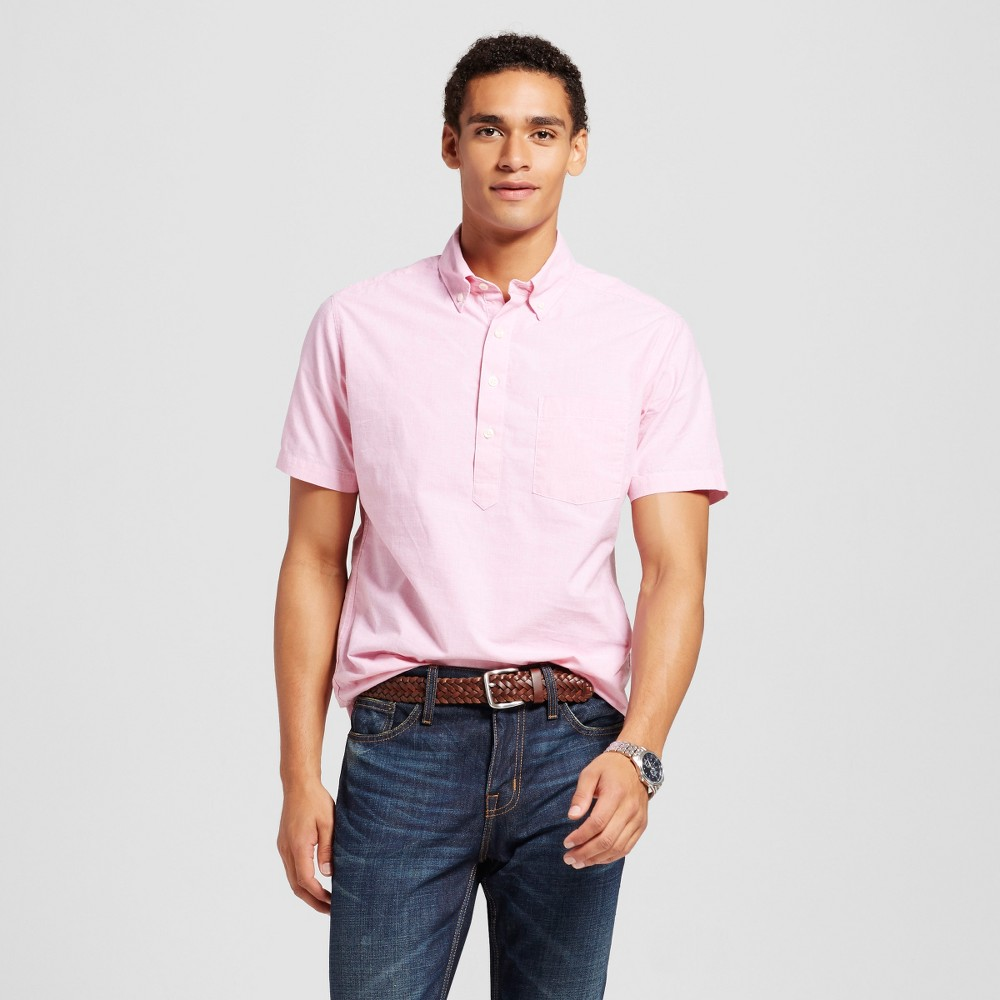 Men's Short Sleeve Poplin Button Down Popover Shirt Pink Xxl – Merona