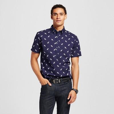Men's Bird Print Short Sleeve Poplin Button Down Popover Shirt Navy Blue M - Merona™