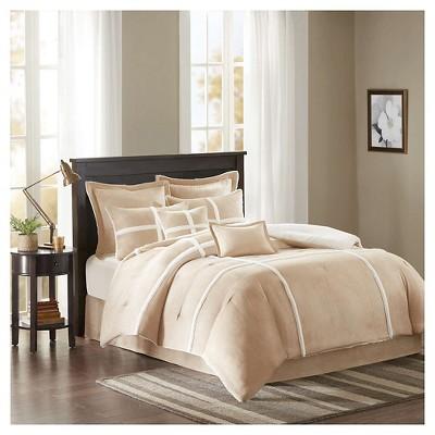 Brewer Suede Comforter Set (King)Tan - 8pc