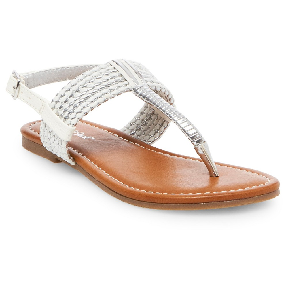 Girls Nikko Thong Sandals Cat & Jack - White 13