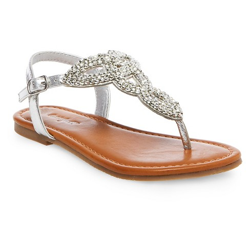 Girls' Norelle Beaded Sandals Cat & Jack™ - Silver - image 1 of 3